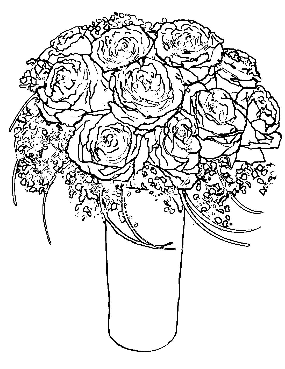 Розы в вазе - раскраска №11560 | Printonic.ru