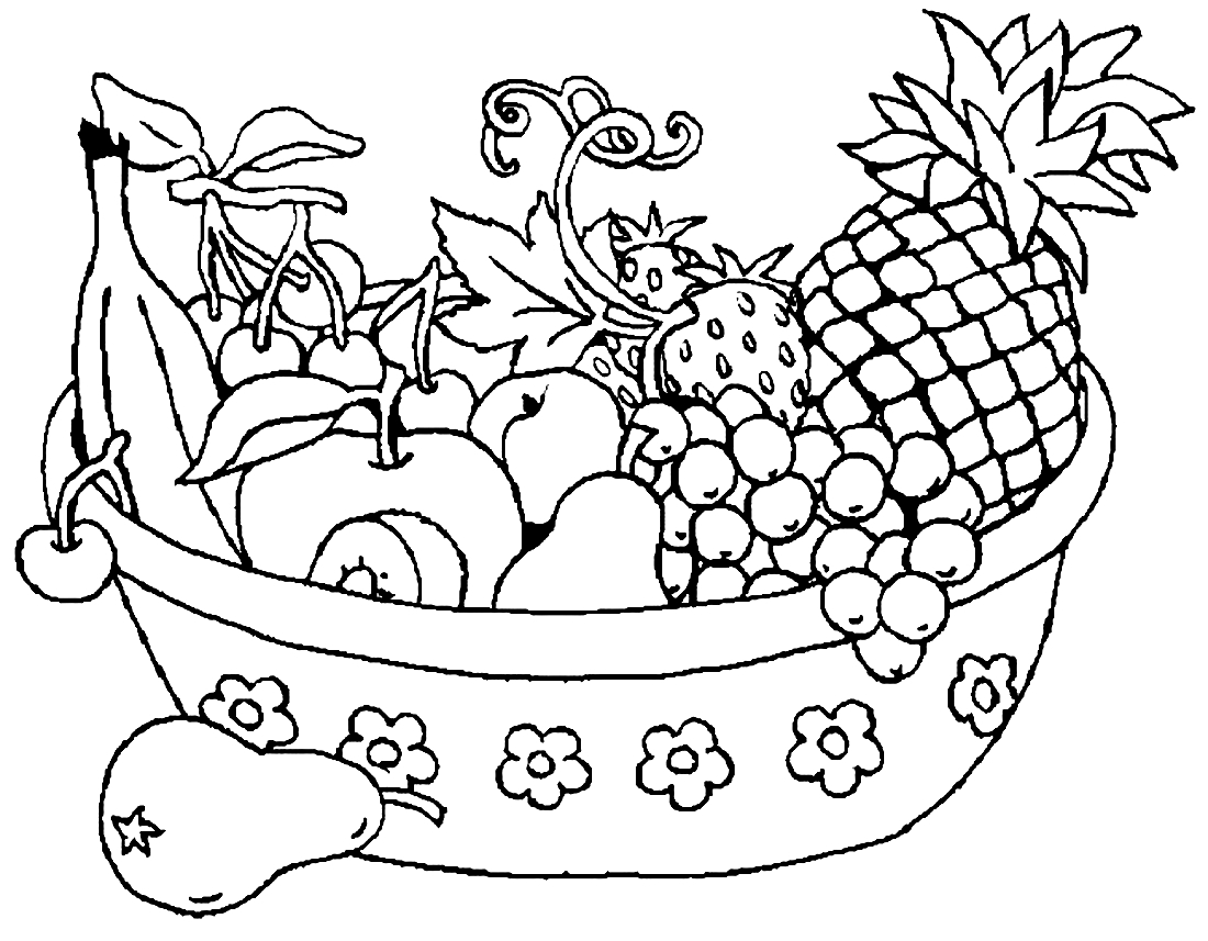 корзина с фруктами картинка для раскрашивания как