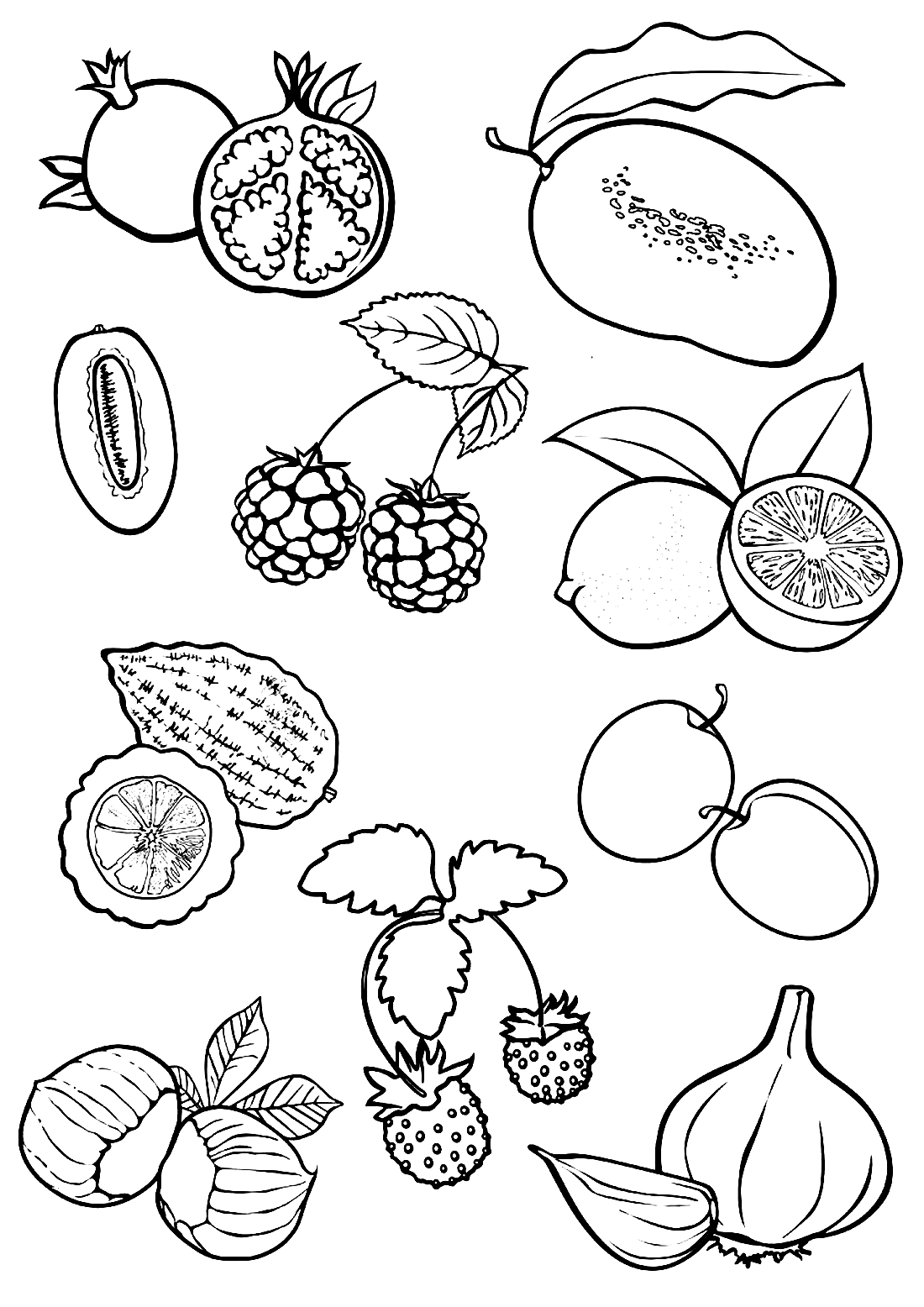 раскраска набор овощей вредители