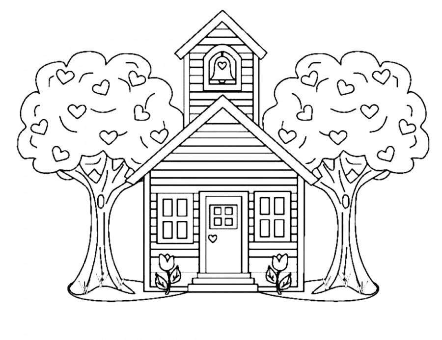 Домик и деревья - раскраска №8040 | Printonic.ru