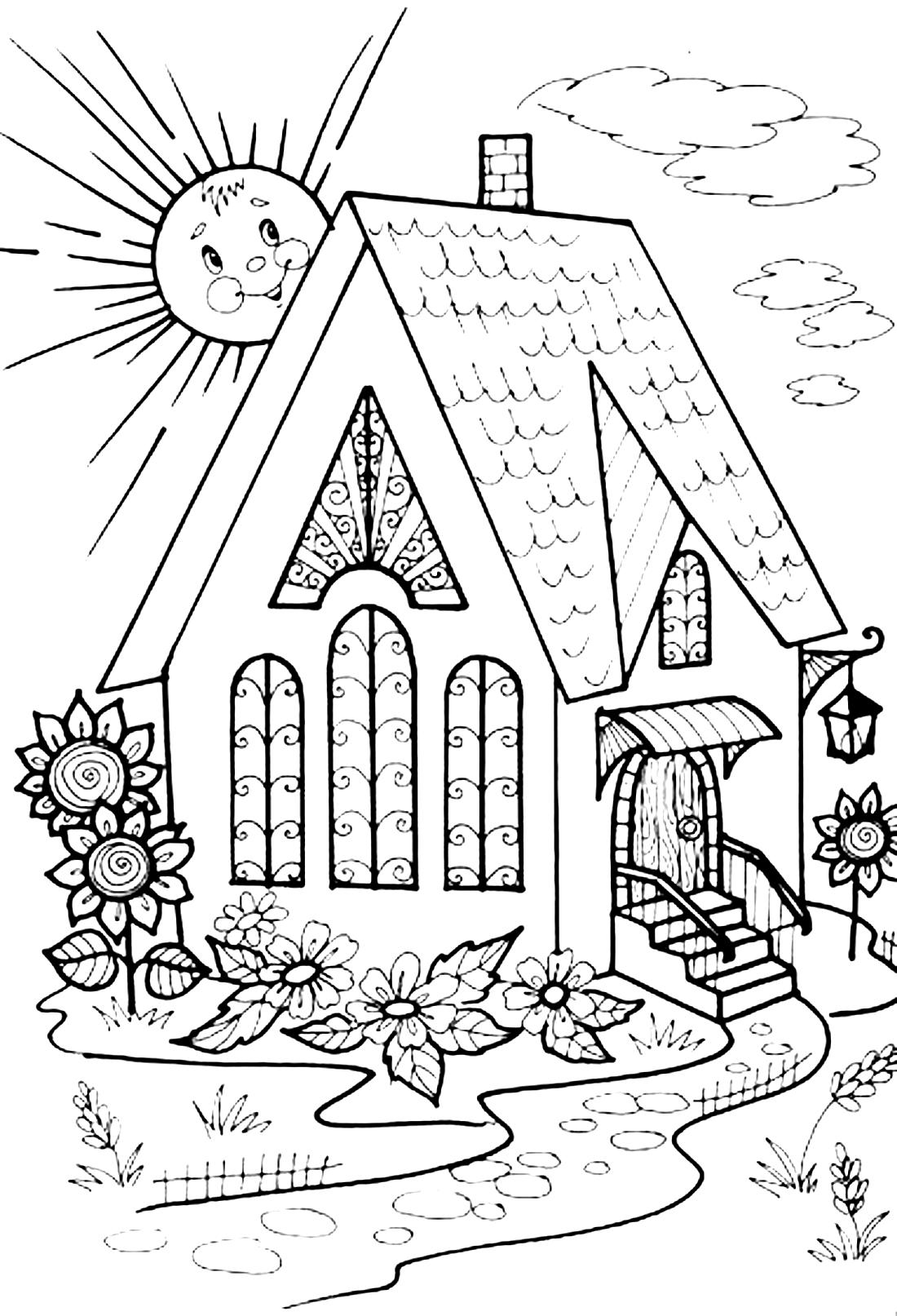 Домик и солнышко - раскраска №9514 | Printonic.ru