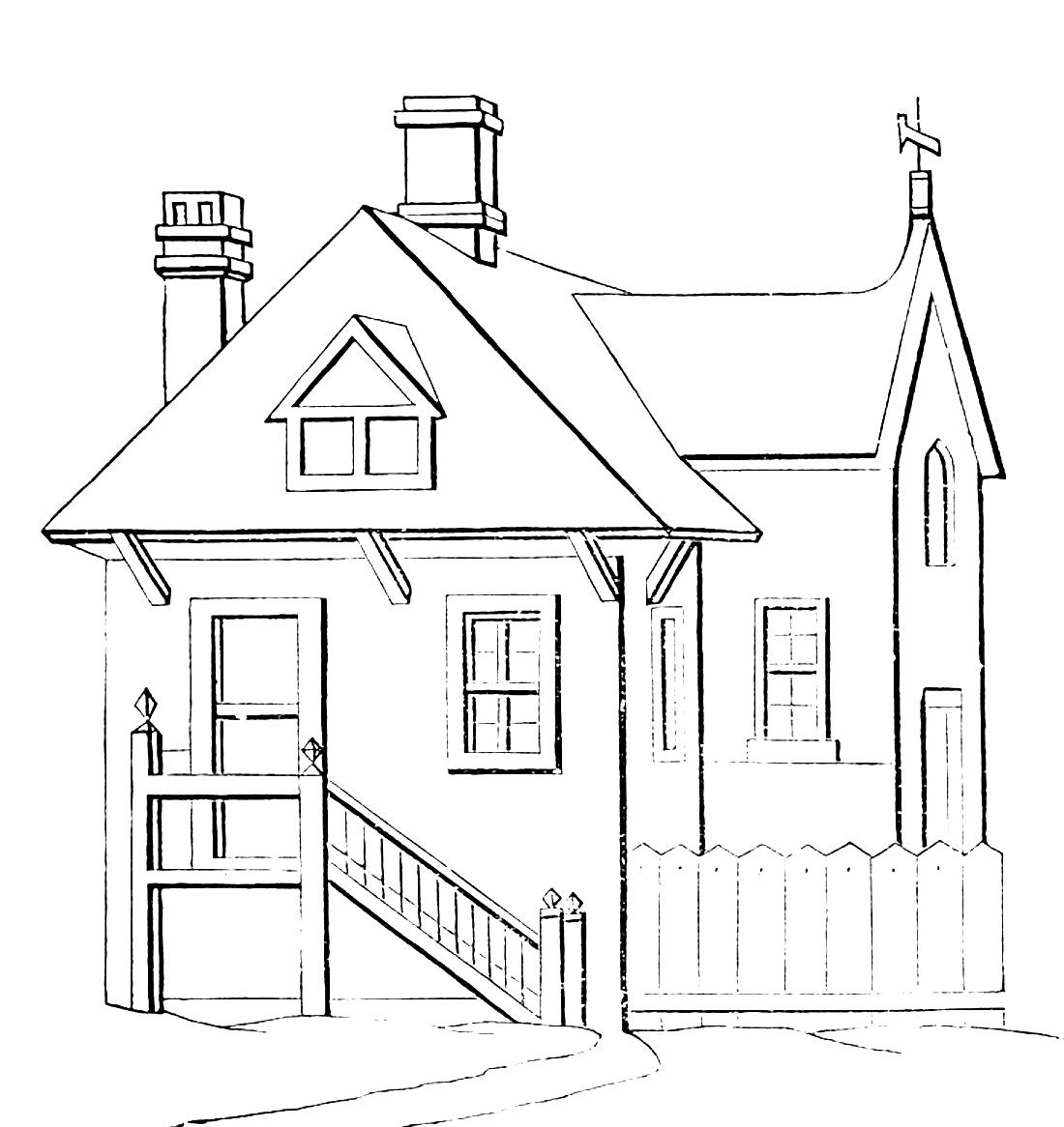 частный дом рисунок данной фотографии