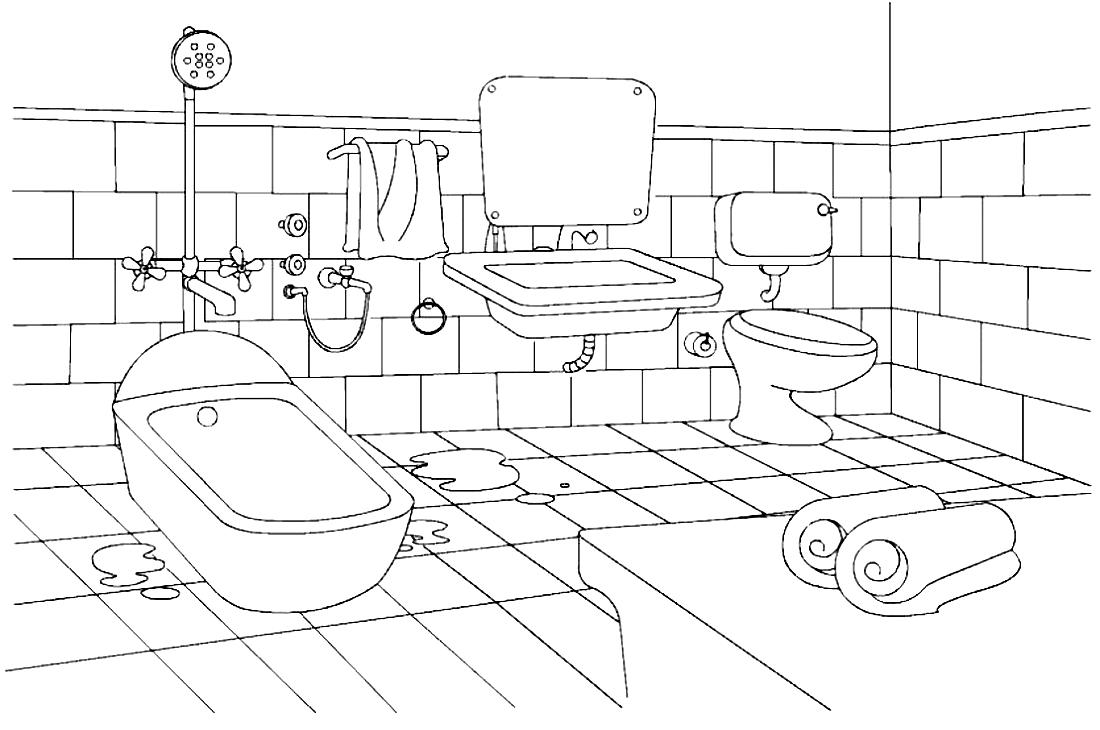 Ванная комната картинка раскраска