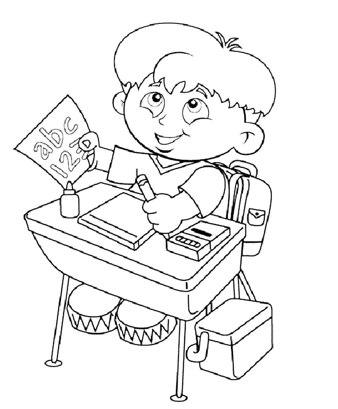 Мальчик пишет картинка раскраска