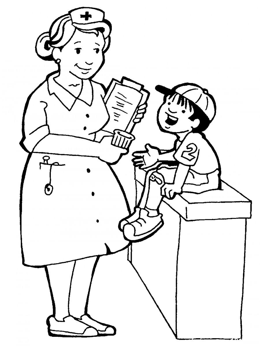 Медсестра и мальчик - раскраска №12268 | Printonic.ru