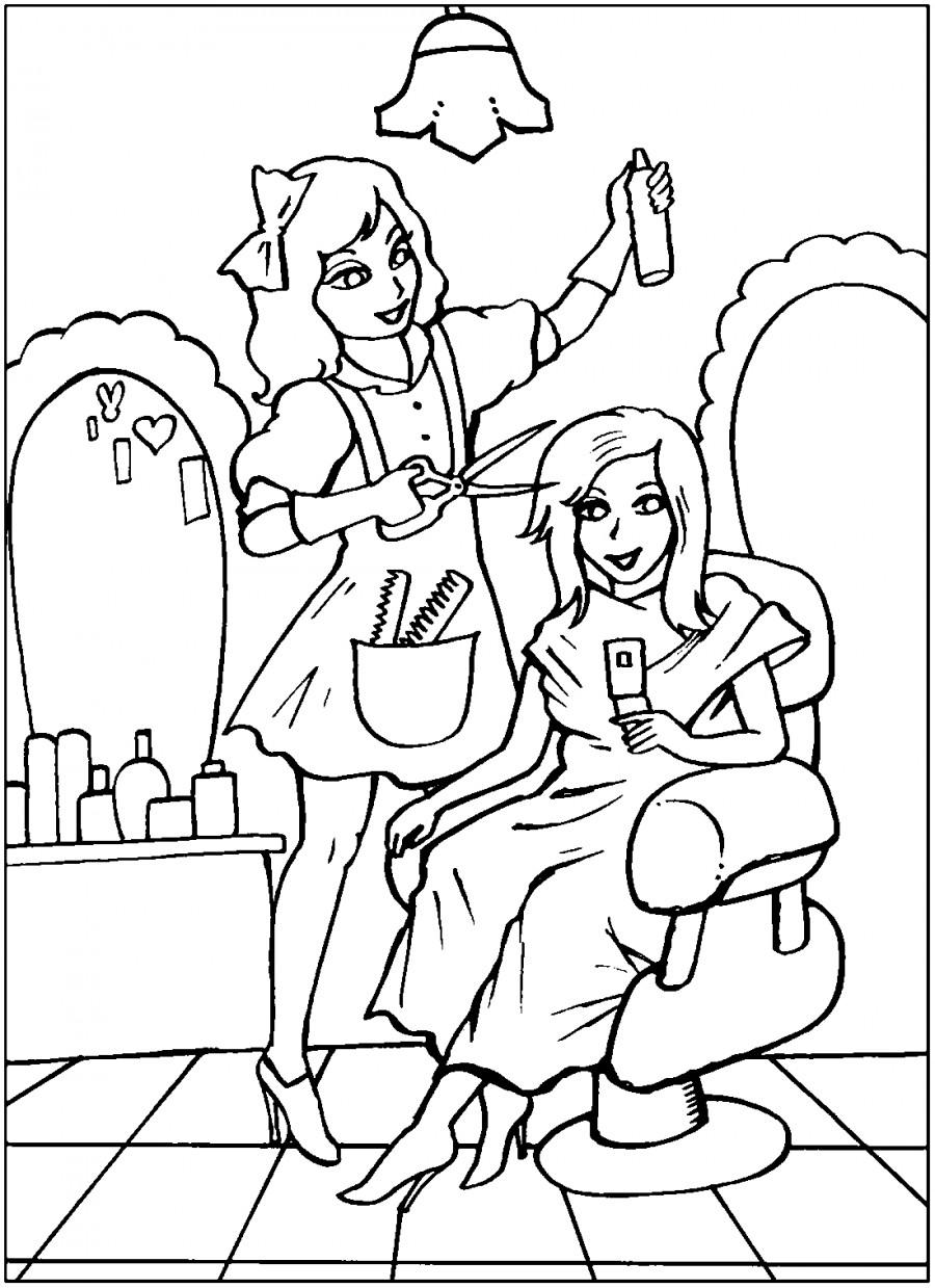 Парихмахерша с бантиком - раскраска №10917 | Printonic.ru