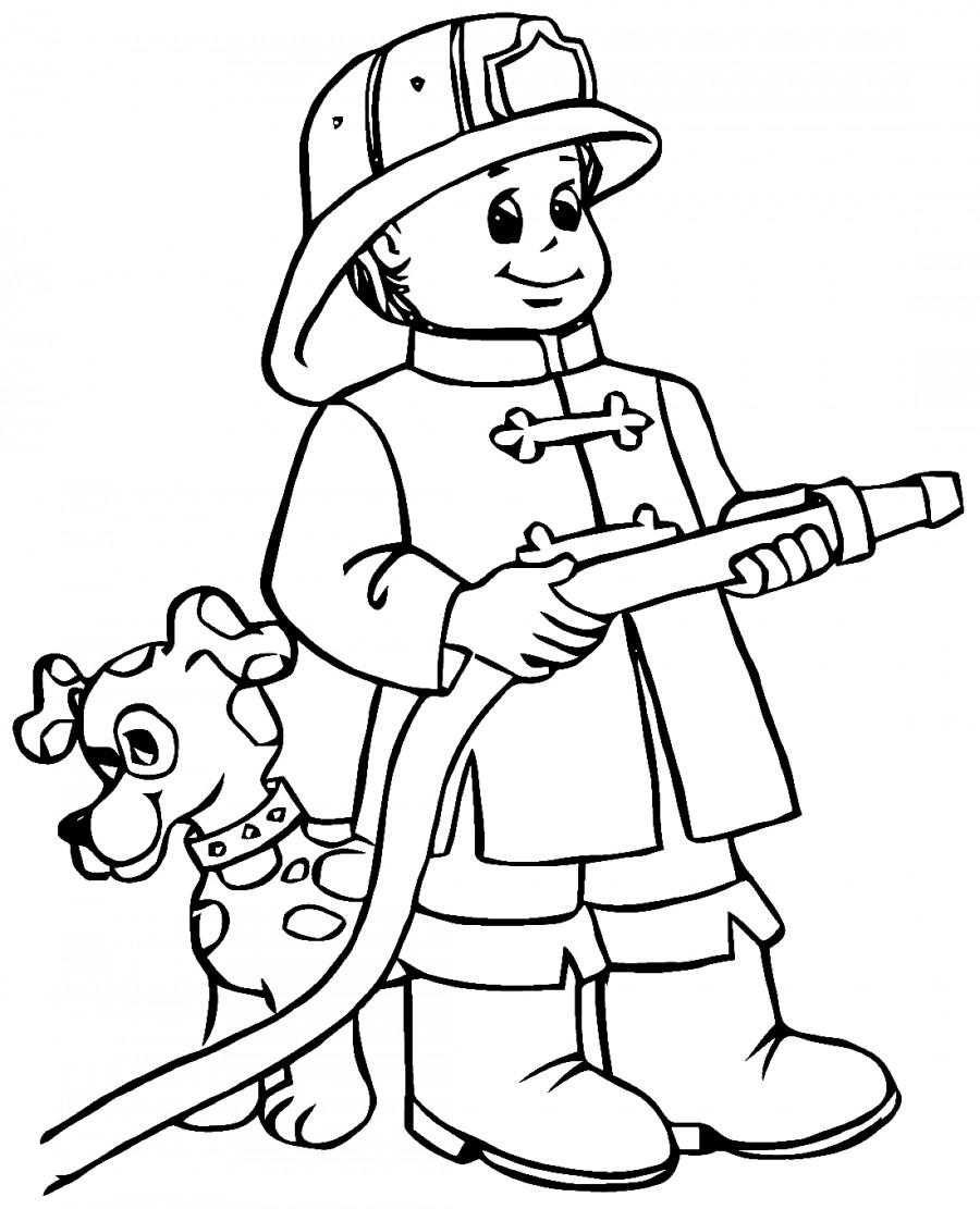 Пожарный и собака - раскраска №10037 | Printonic.ru