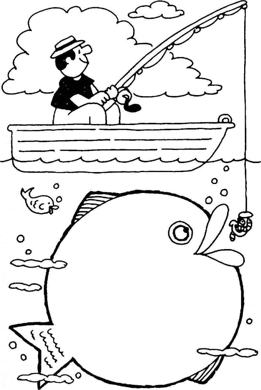 Рыбак в лодке и большая рыба - раскраска №5955 | Printonic.ru