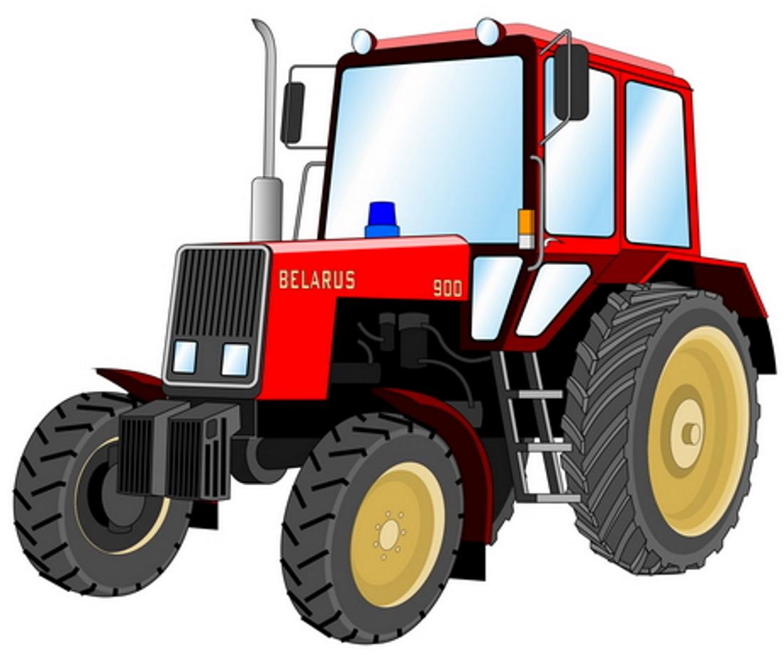 Картинка красного трактора детская