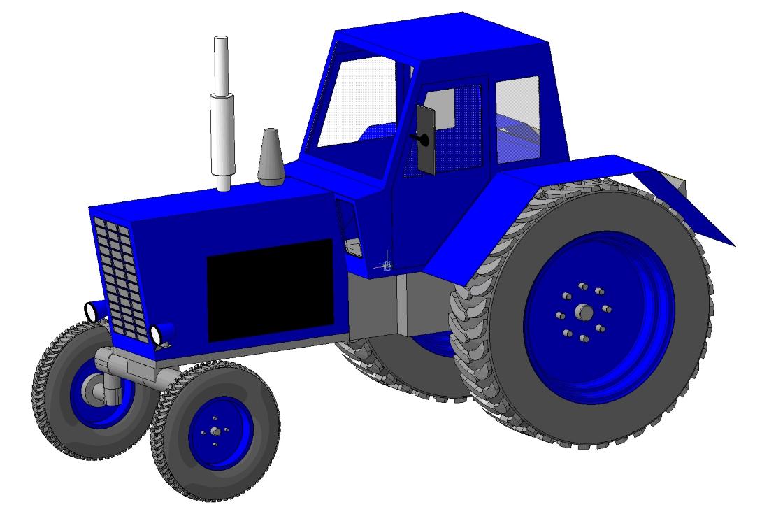 Ярко синий трактор - картинка №10001 | Printonic.ru