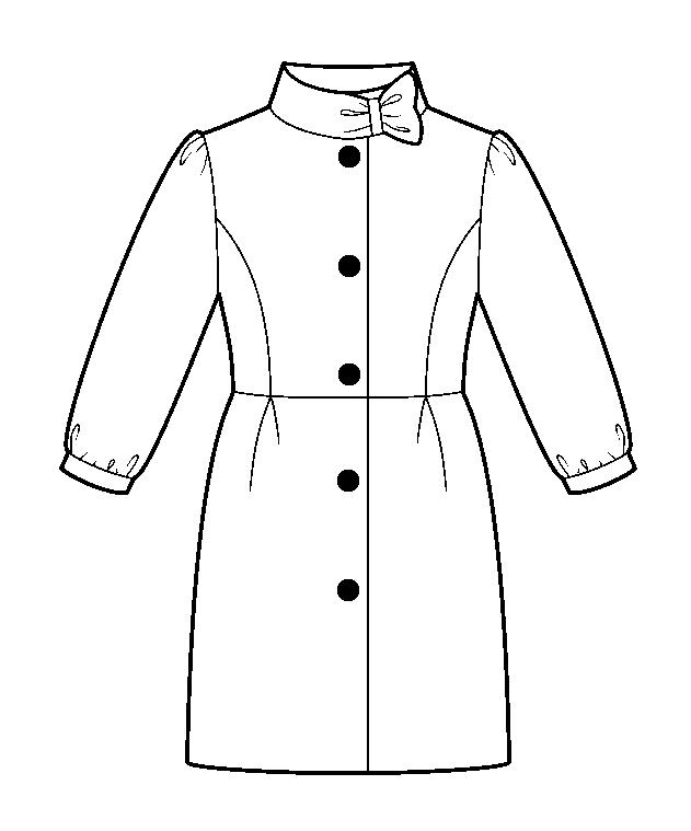 Пальто приталенное - раскраска №9630   Printonic.ru