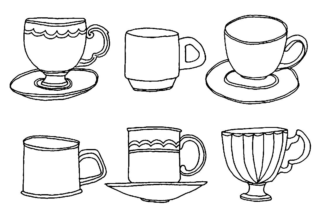 возиться раскраска чайная пара чашка и блюдце молочница