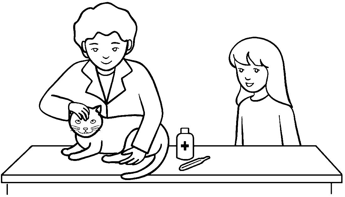 Котик у ветеринара - раскраска №5364   Printonic.ru
