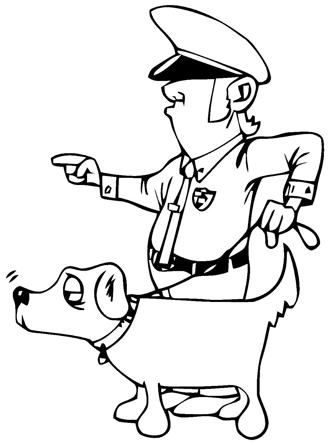 Полицейский и собака - раскраска №12027 | Printonic.ru
