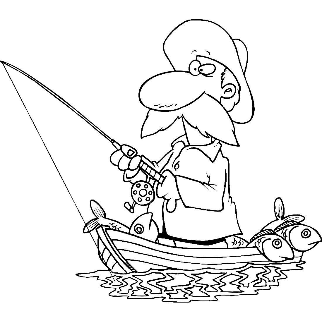 Рыбак с усами - раскраска №11962 | Printonic.ru