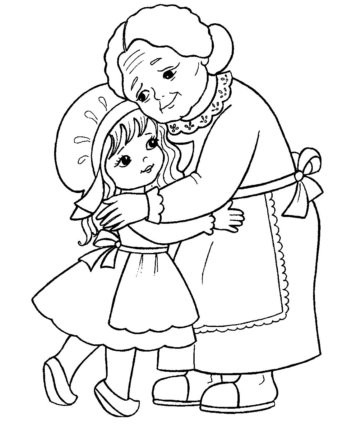 Раскраска с бабушкой и детьми
