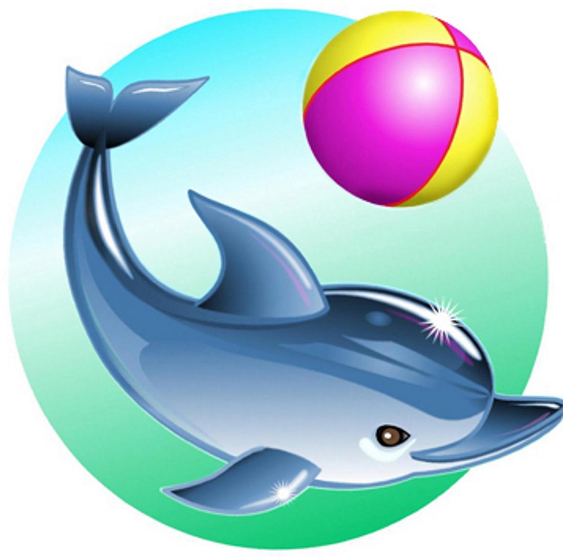 Дельфин с мячиком - картинка №14291 | Printonic.ru