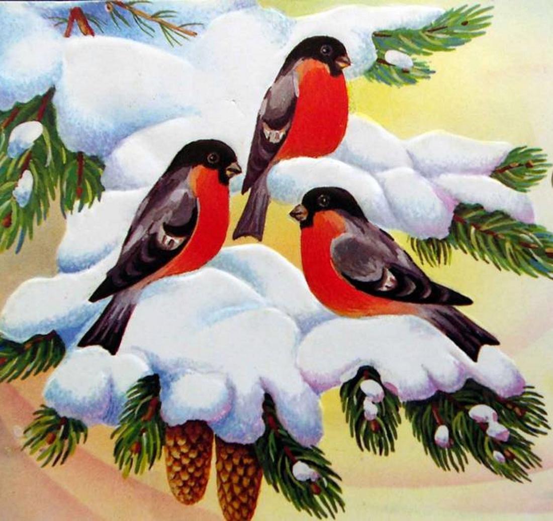 Картинка снегири в саду