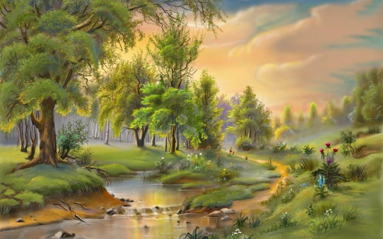 Лес рисованная картинка