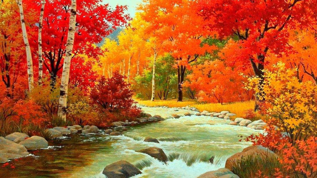 Золотая осень в лесу у реки - картинка №13975 | Printonic.ru