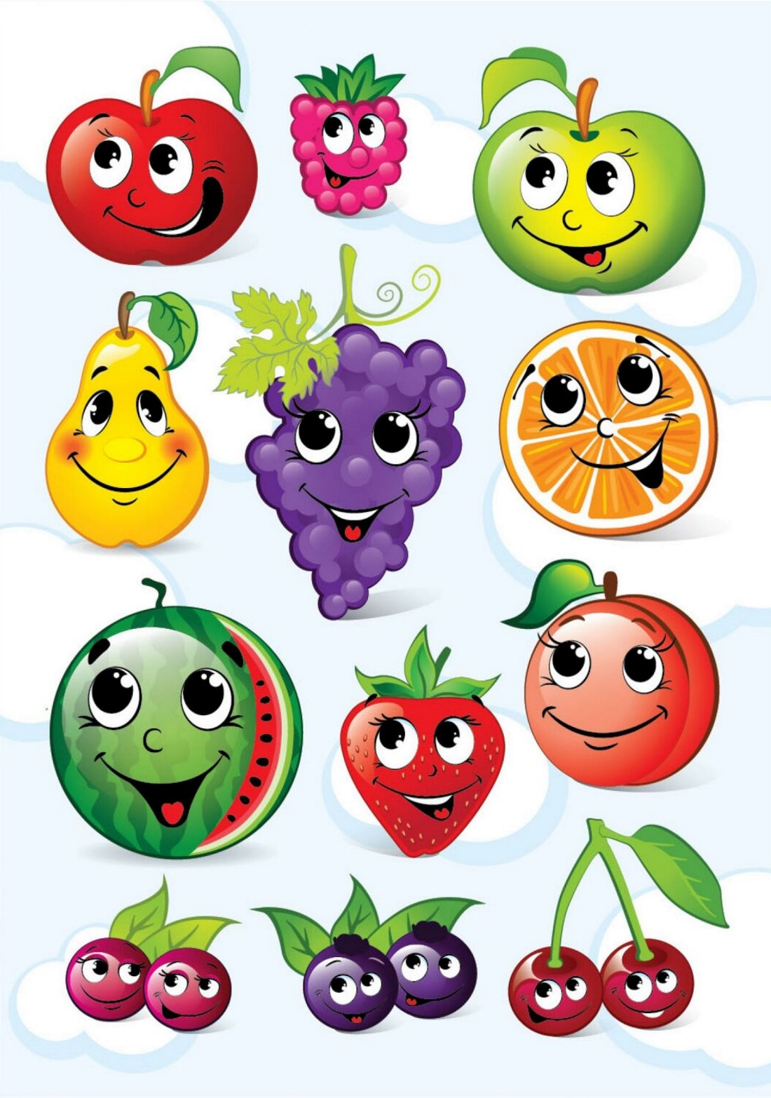 Картинка для детей фрукты с глазками