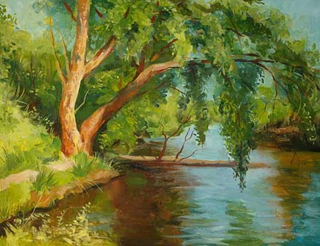 например, рисунок с деревом и водой луга