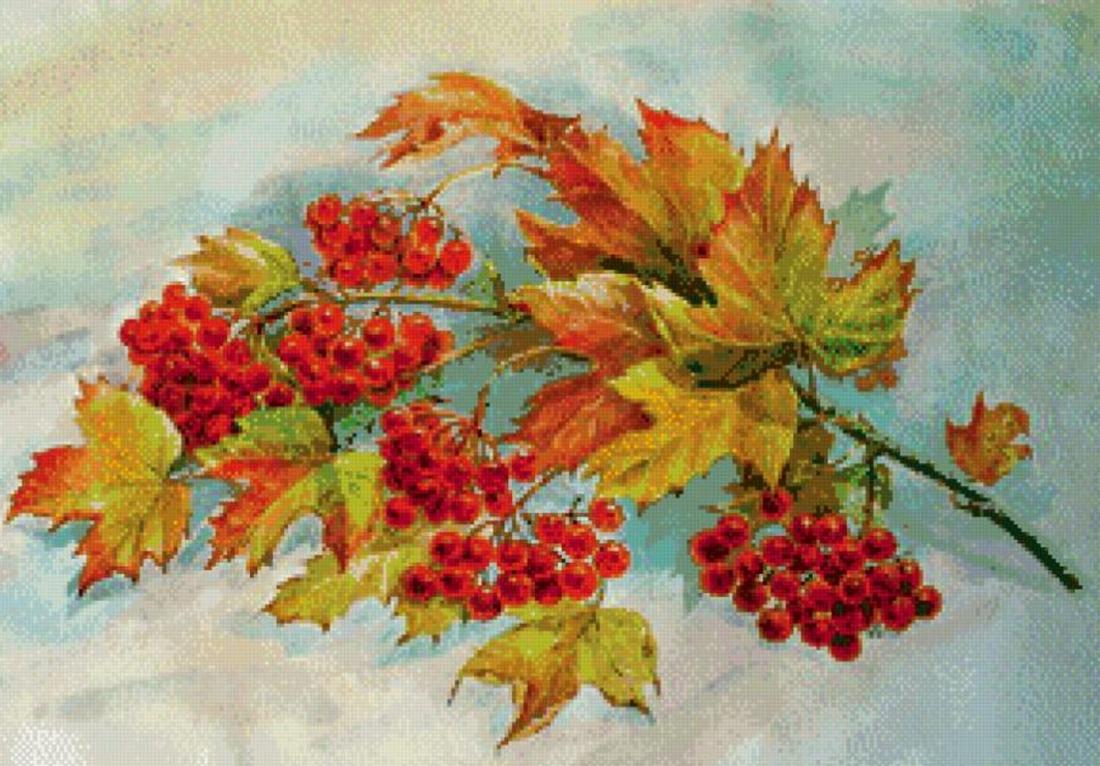 Кленовые листья в вазе рисунок