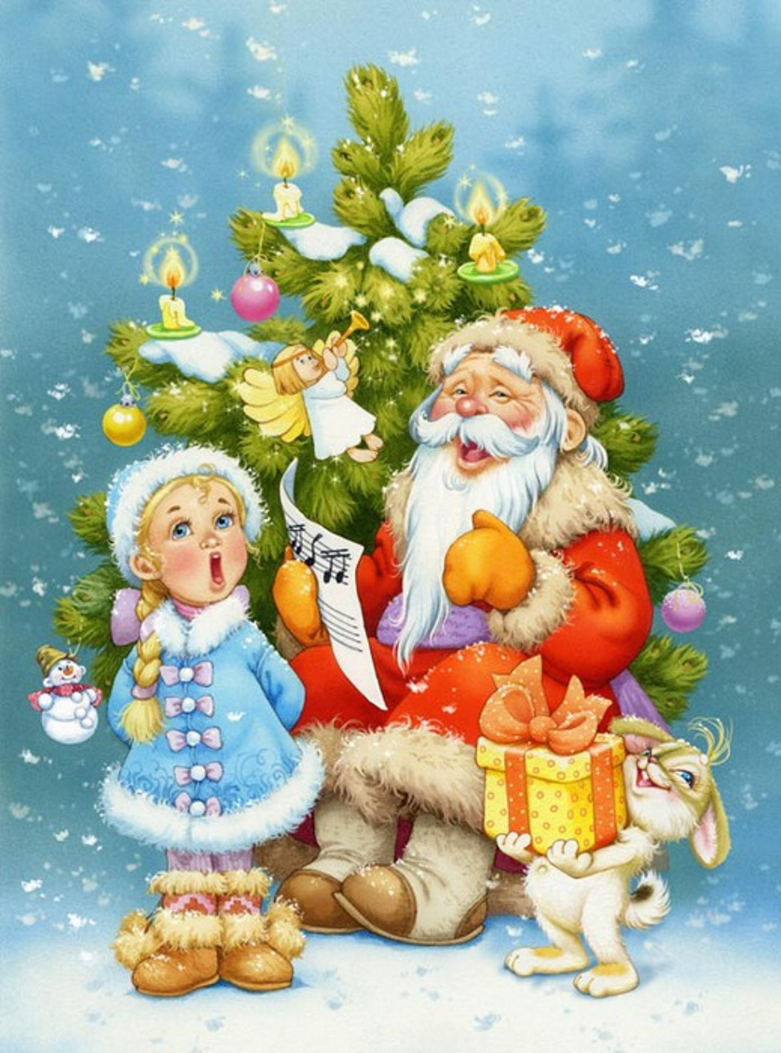 Новогодние картинки с дедом морозом и снегурочкой елкой