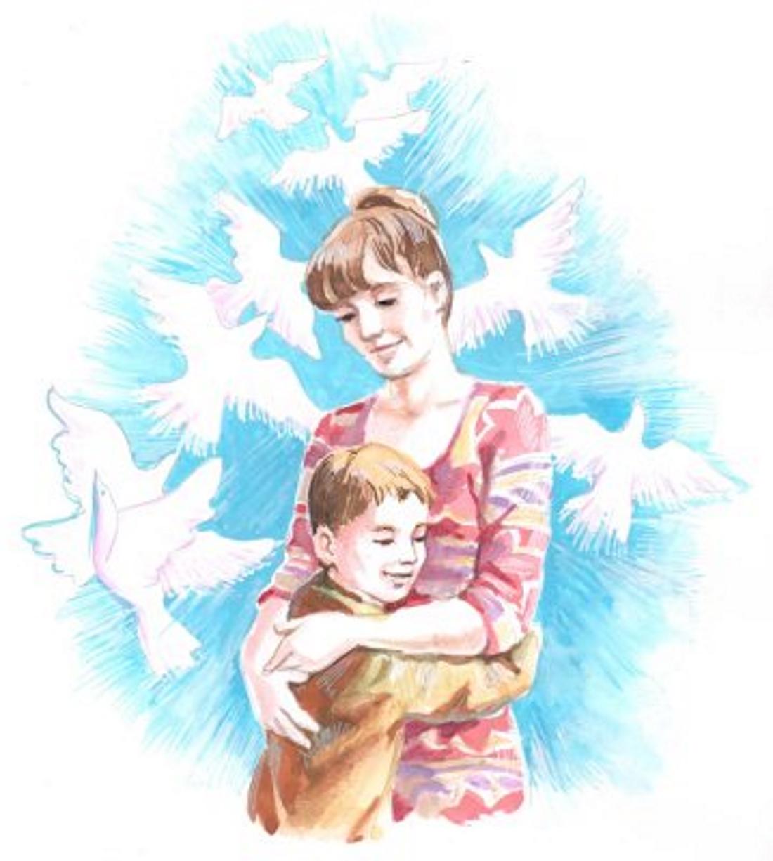 Картинки мама с сыновьями рисованные