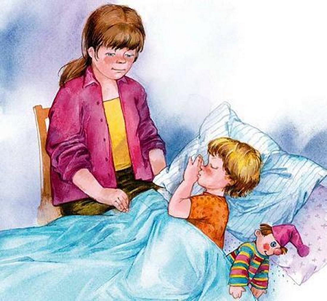 выкладывали картинки мама укладывает спать дочку них