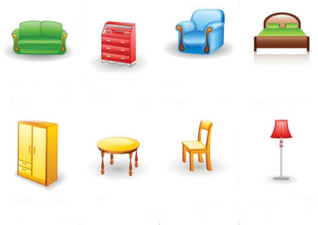 Цветные картинки для детей мебель