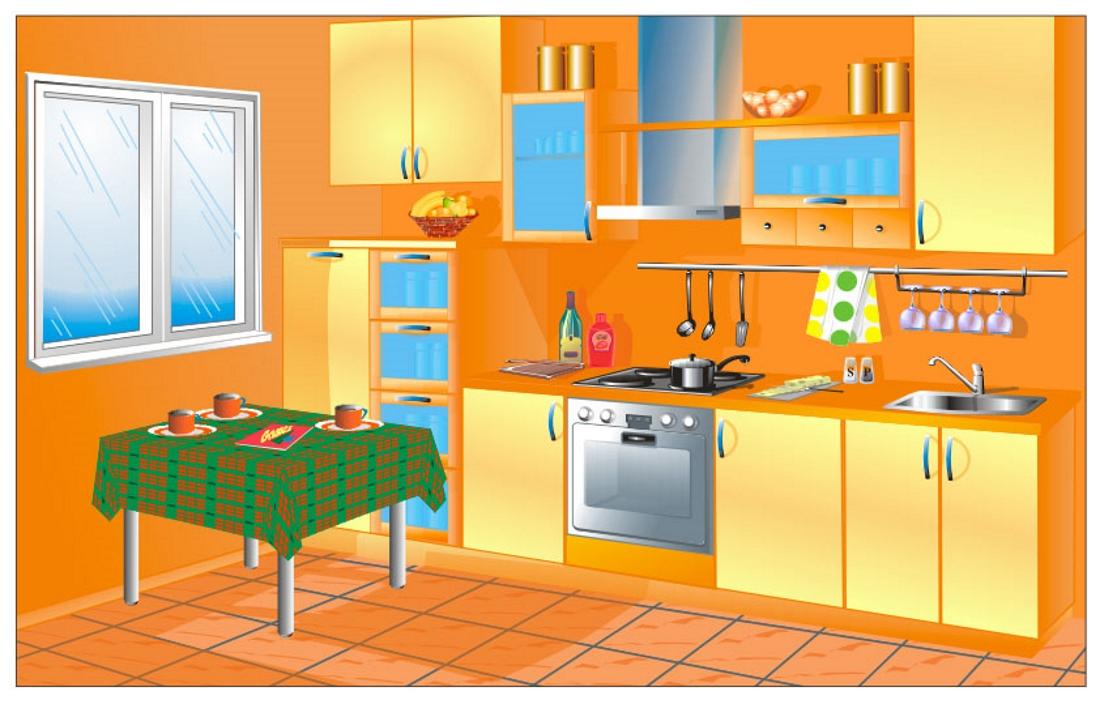Картинки мебель для детей для занятий кухня