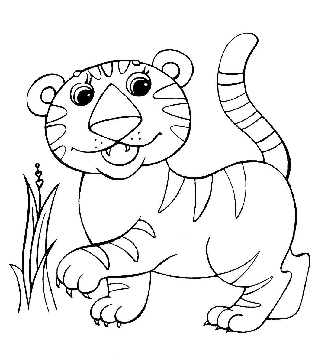 Раскраски тигрята распечатать