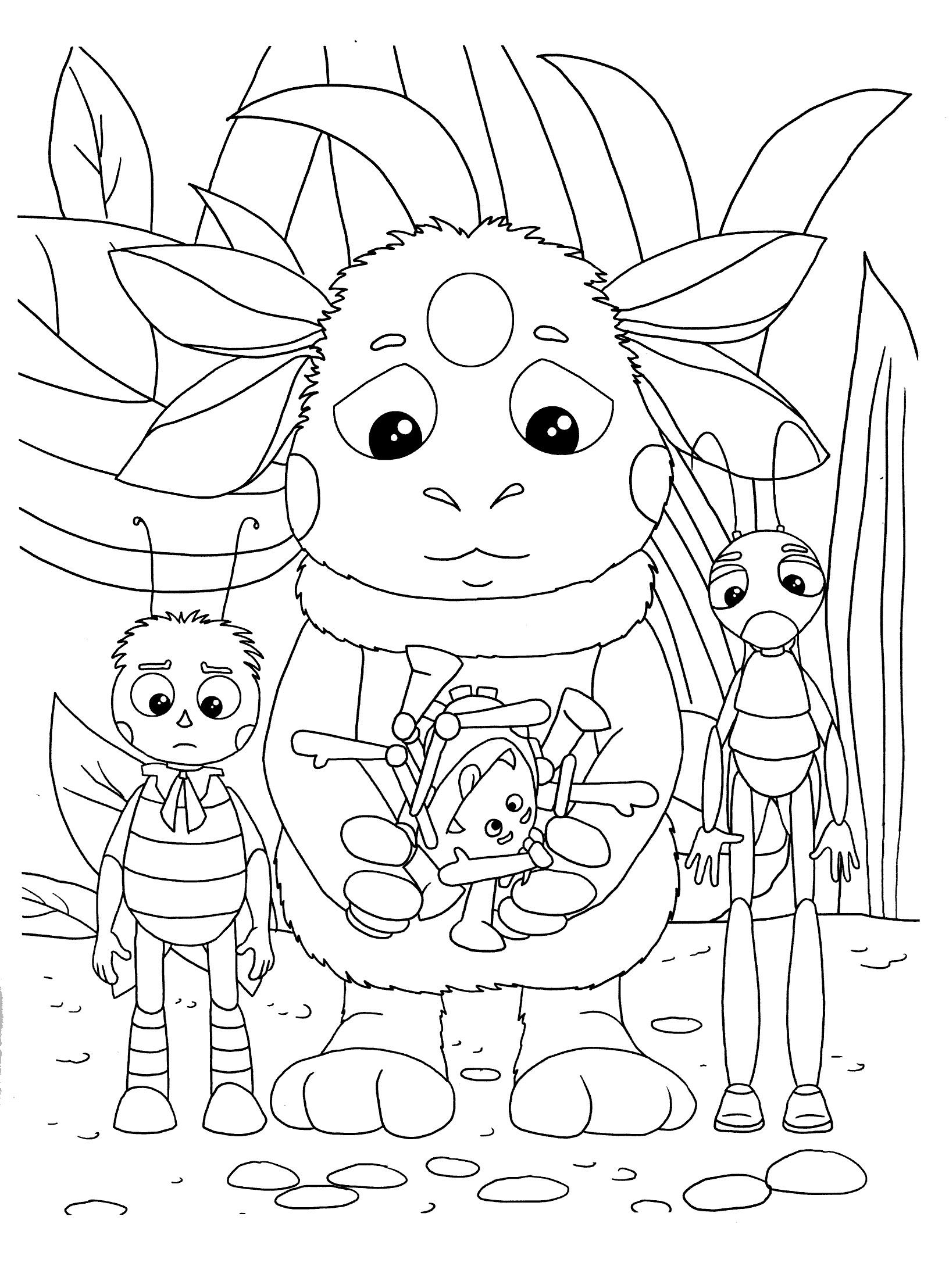 Игры раскраски с лунтиком и его друзья