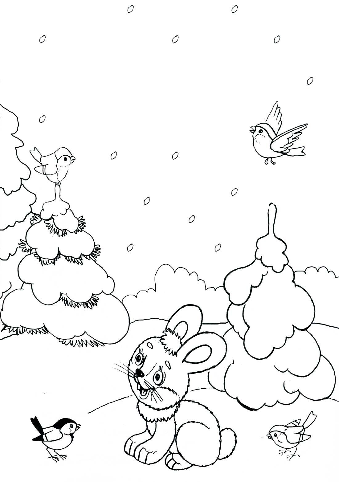 Раскраски зайчик в лесу