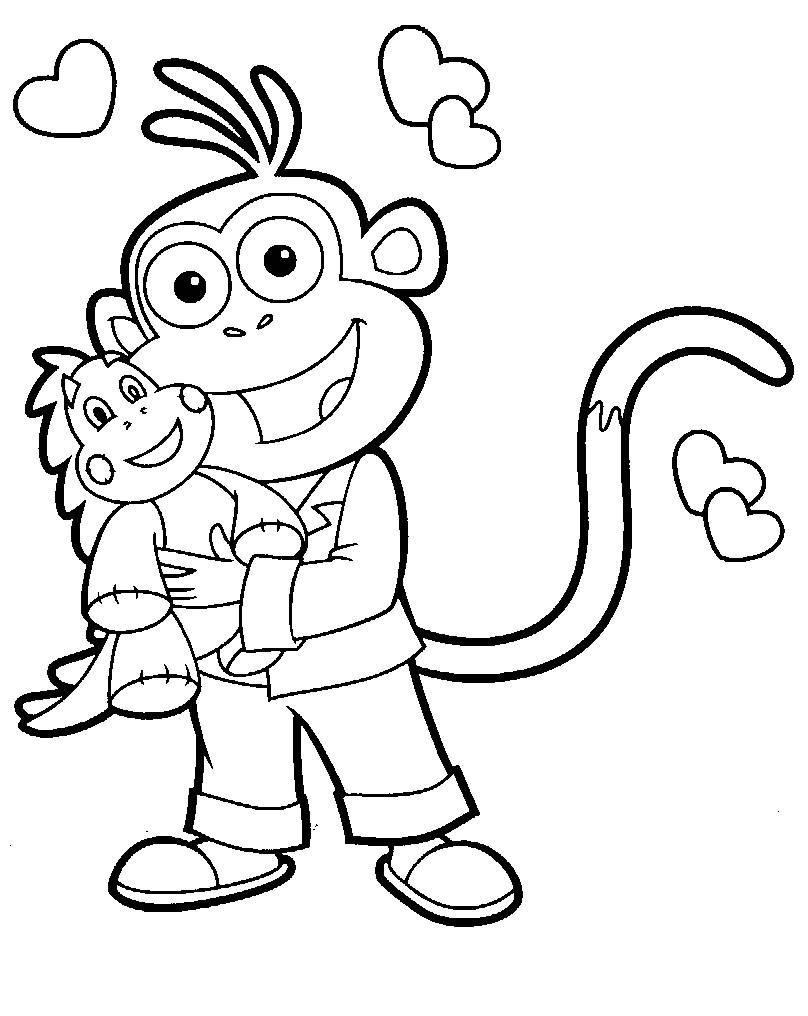 Картинки обезьянка раскраска
