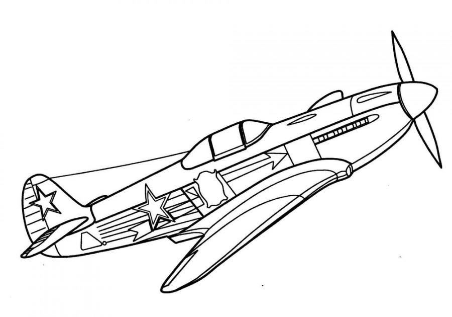 Самолет со звездами на фюзеляже  раскраска №180