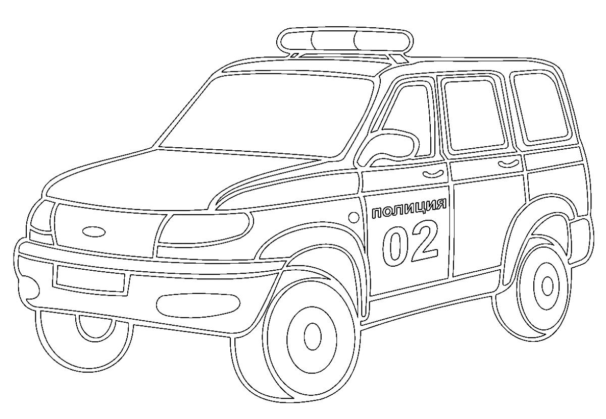 полицейская машина внедорожник раскраска 277 Printonic Ru