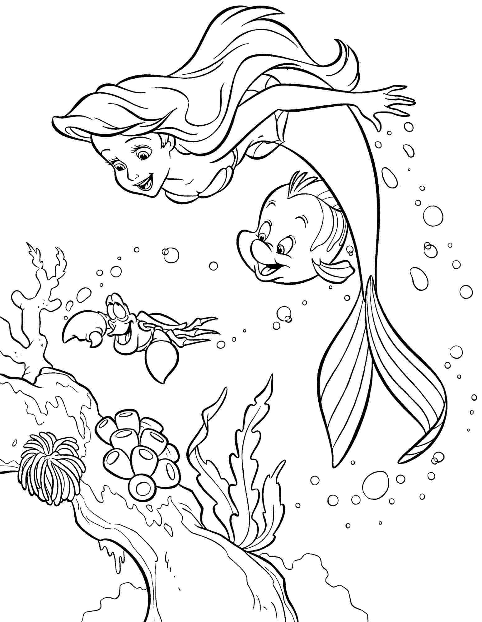 Раскраска девочка русалочка