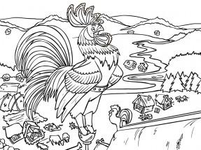 раскраски по сказке золотой петушок распечатать или скачать