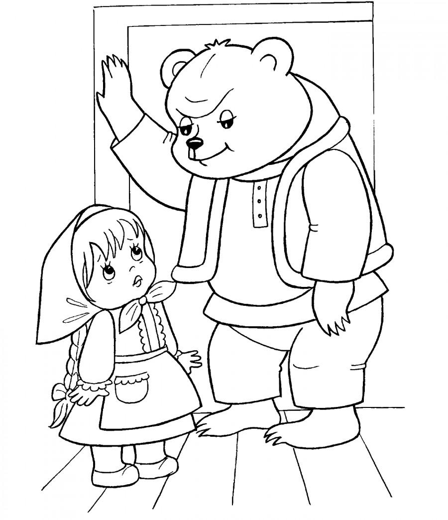 Раскраска медведь из сказки маша и медведь русская народная сказка