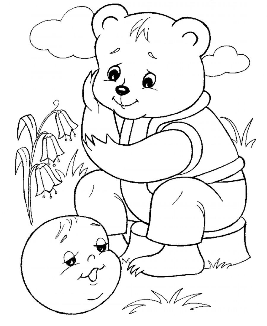 Картинки для сказки колобок для детей раскраски