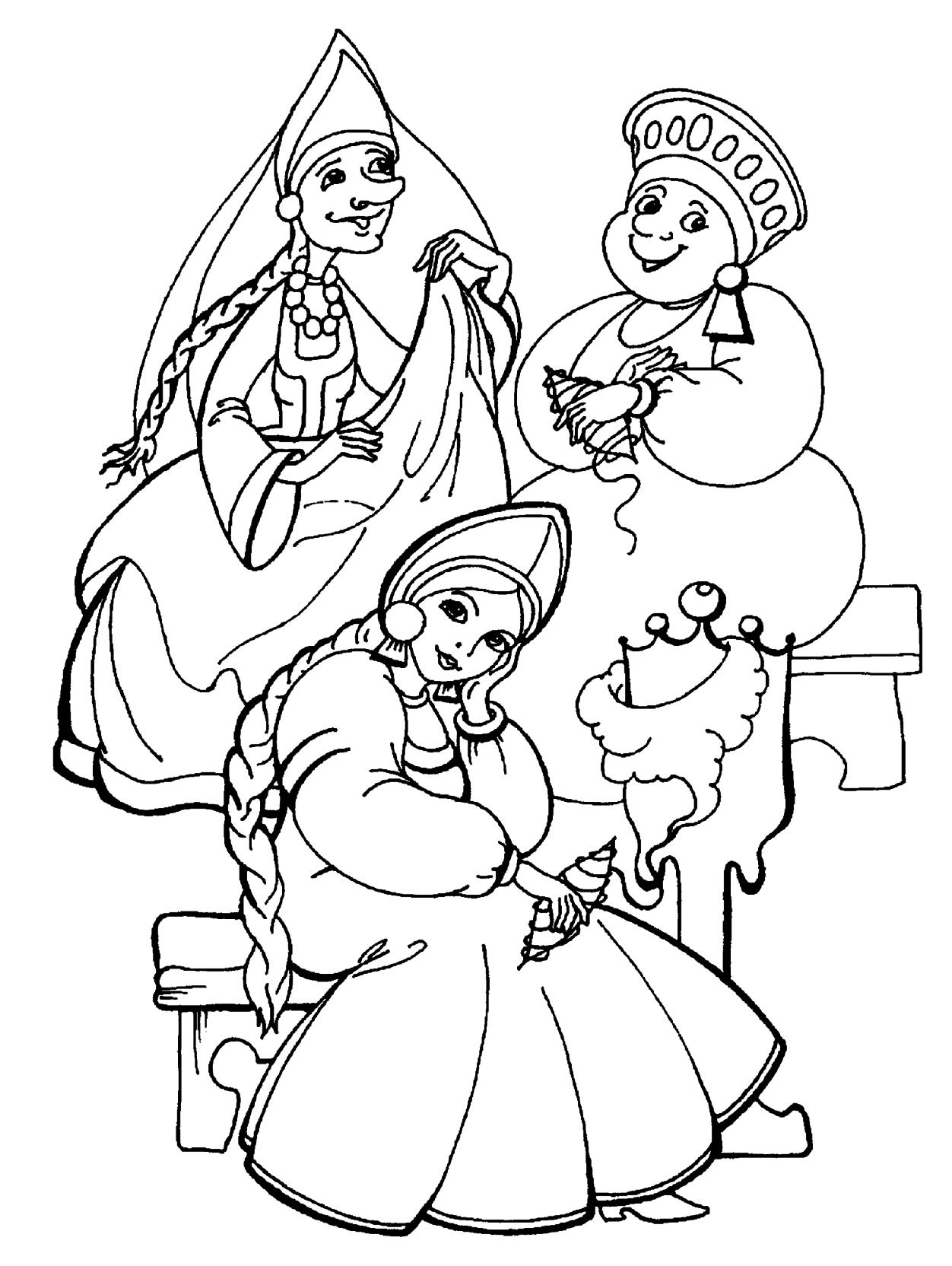 три сестры из сказки о царе салтане раскраска 365