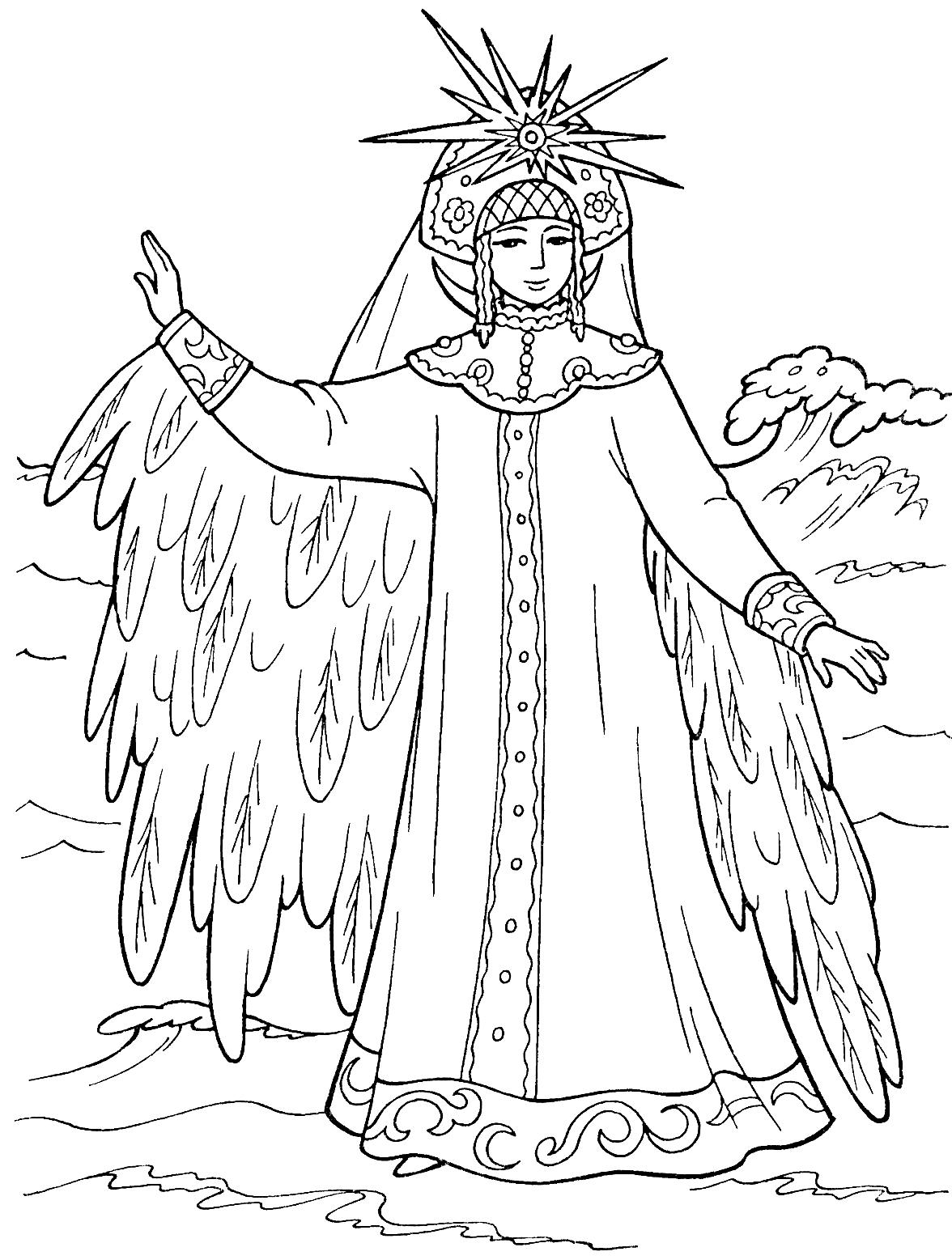 лебедь раскраска для царевна