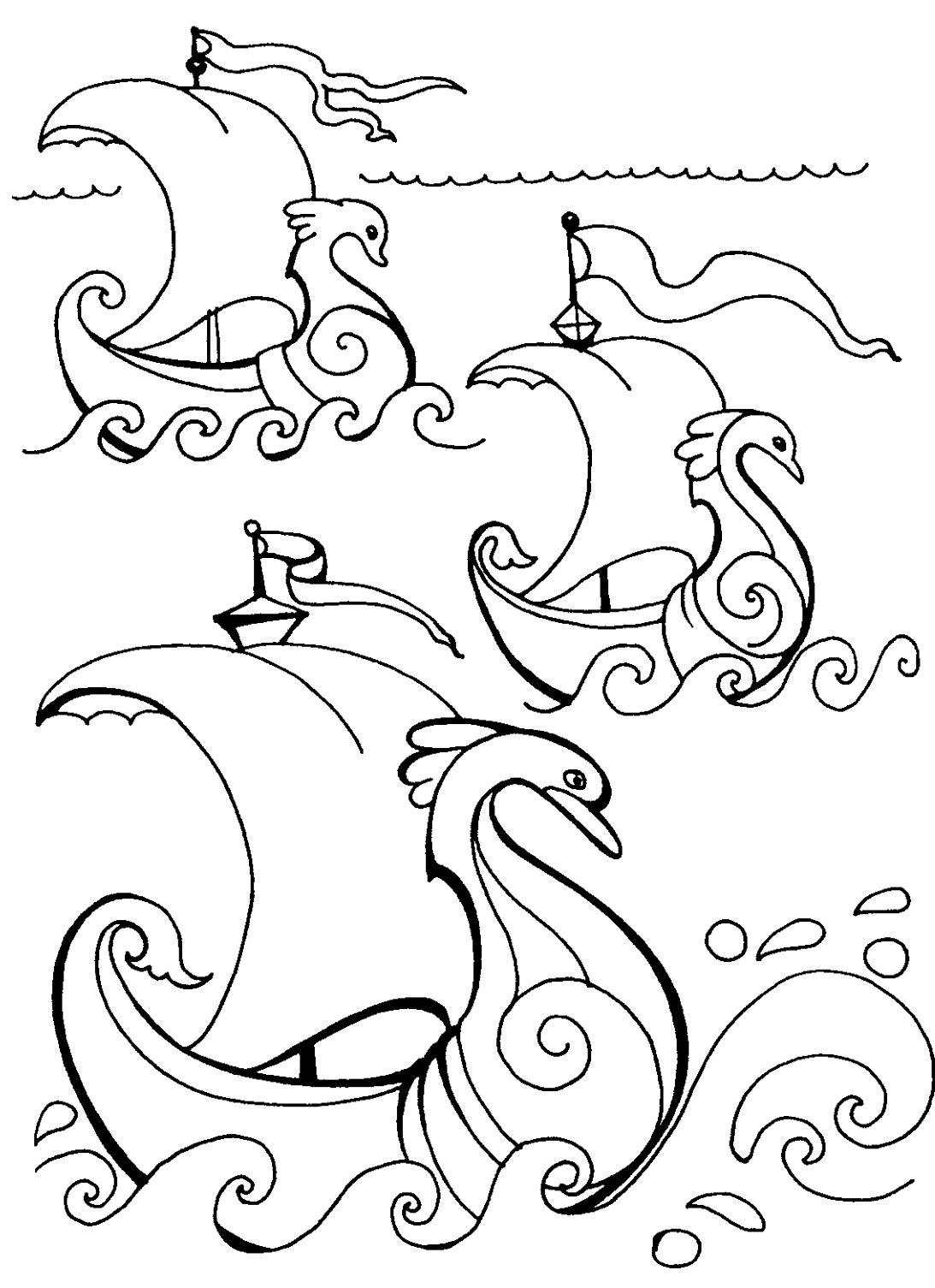 ветер по морю гуляет из сказки о царе салтане раскраска