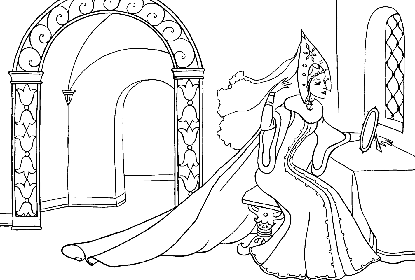 Мёртвая царевна и семь богатырей раскраска