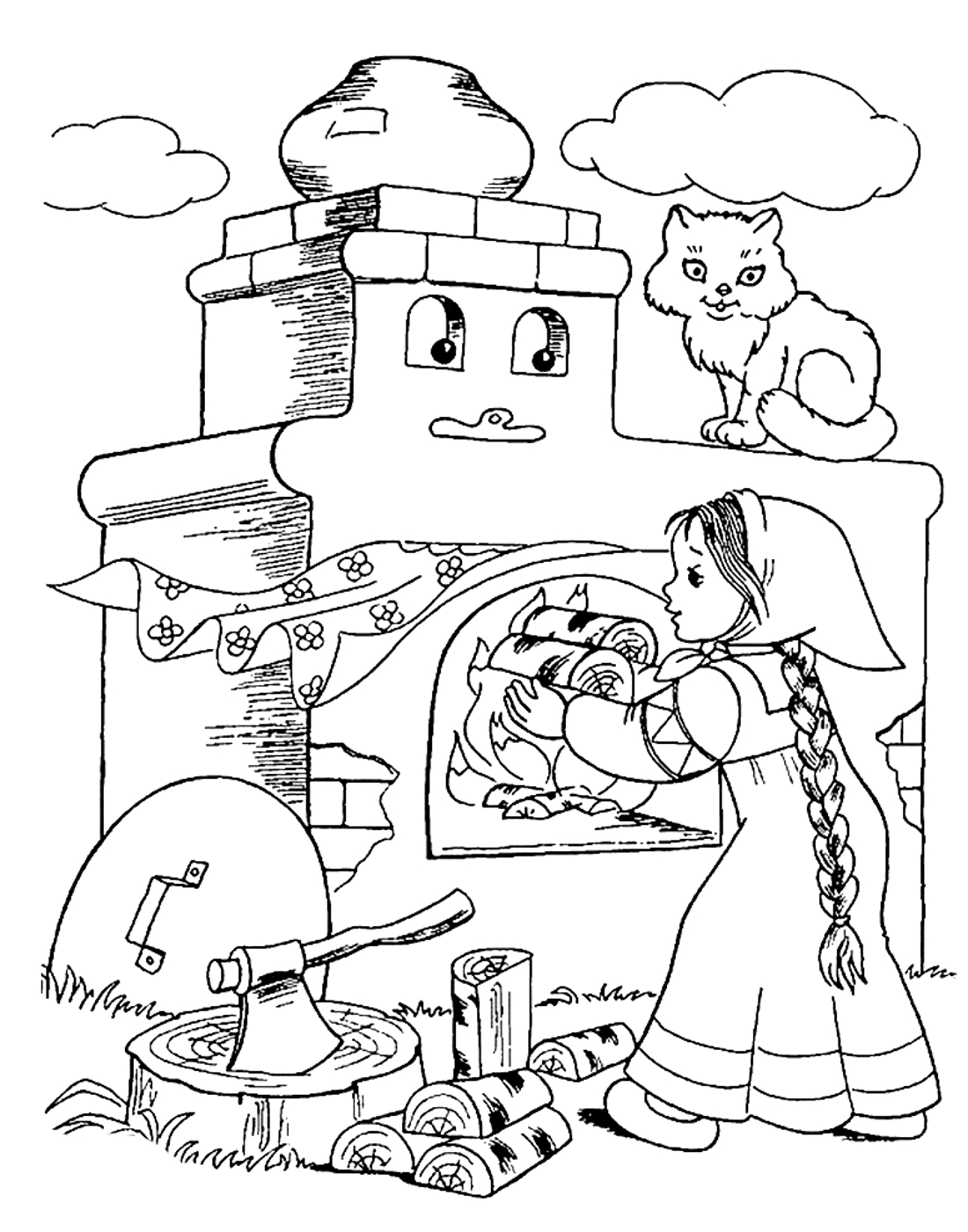 девочка топит печку раскраска 475 Printonic Ru