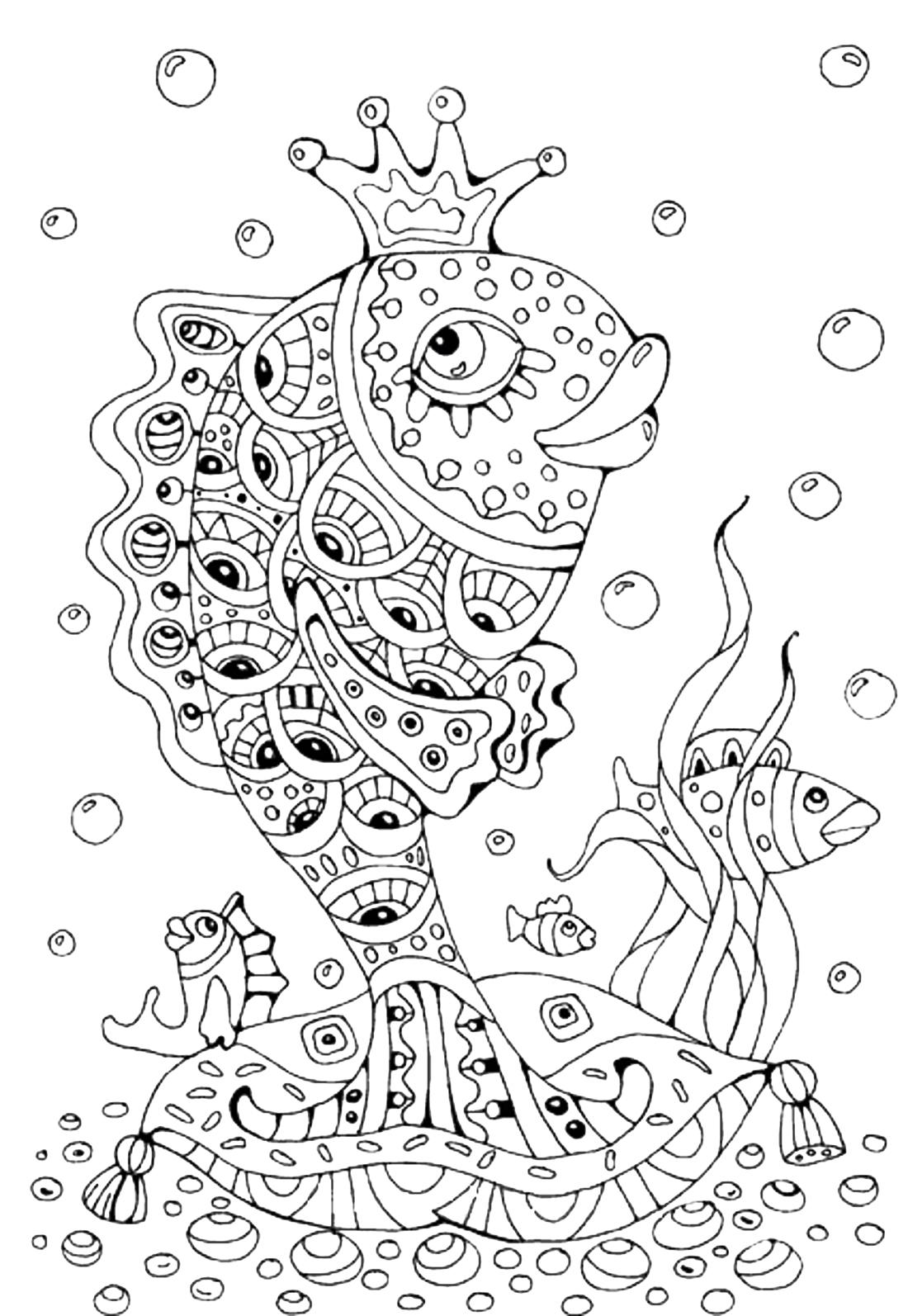 Распечатать раскраски сказка о рыбаке и рыбке