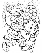 раскраски по сказке волк и лиса для мальчиков распечатать
