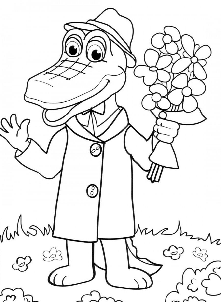 Картинки с крокодилом геной раскраска